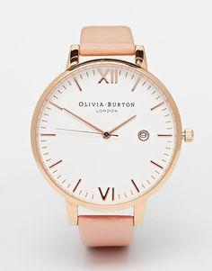 Image 1 - Olivia Burton - Timeless - Montre à bracelet en cuir rose et cadran oversize