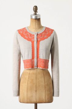 Anthropologie - Brushed Lace Cropped Cardi