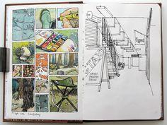 Nina Johanssen sketches Nice complex page Sketch Journal, Artist Journal, Artist Sketchbook, Illustrations, Illustration Art, Drawing Sketches, Art Drawings, Travel Sketchbook, Sketchbook Inspiration