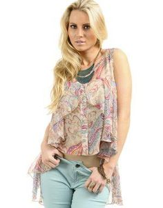 Paisley Print High-Low Blouse With Ruffles Beige. Wear this blouse with light washed denim and neutral hued shoes. Add a colored purse for contrast.. See More Blouses and Shirts at http://www.ourgreatshop.com/Blouses-Shirts-C78.aspx