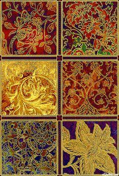 """La Scala 4 - Intermezzo Ornaments - Ruby/Gold - 24"""" x 44"""" PANEL"""