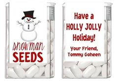 Christmas Snowman Seeds Tic Tac Labels. Christmas Tic Tac Labels are fun Christmas party favor ideas for adult parties or for children's parties.