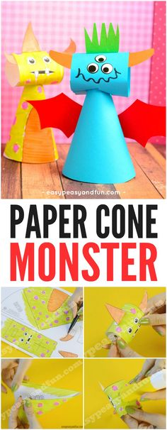 Paper Cone Monster Craft for Kids. Fun Paper Halloween Idea for Kids.