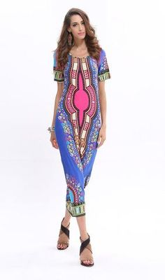 Lovely Bohemian Print Short Sleeve Dress