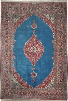 Hand Knotted 8x12 Persian Kashan Design Rug