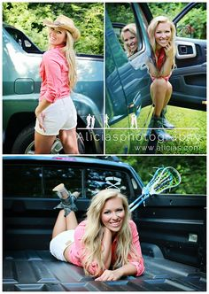 Fun senior poses with her truck and lacrosse stick!