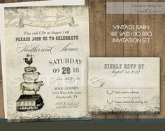 Rustic Sunflower Wedding Invitations Set Rustic Sunflower