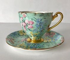Wonderful vintage Shelley bone china tea cup and saucer, made in England. A pretty chintz duo in the Melody pattern. Antique Tea Cups, Vintage Teacups, Bone China Tea Cups, Teapots And Cups, Rose Tea, My Cup Of Tea, Tea Cup Saucer, Tea Time, Tea Party