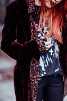 velvet jacket lined with leopard