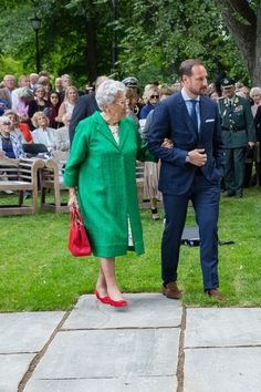 Princess Astrid of Norway and Crown Prince Haakon of Norway attend the unveiling of Norwegian Trekking Association gift for The Queen of Norway 80th birthday on July 04, 2017 in Oslo, Norway