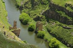 Remains of an ancient bridge below Ani, photographed on June 19, 2011. Armenia is on the right, Turkey on the left.