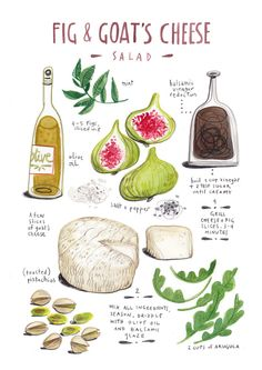 illustrated recipes: fig and goat's cheese salad Canvas Print Cooking Tips, Cooking Recipes, Healthy Recipes, Recipe Drawing, Aussie Food, Good Food, Yummy Food, Goat Cheese Salad, Food Drawing