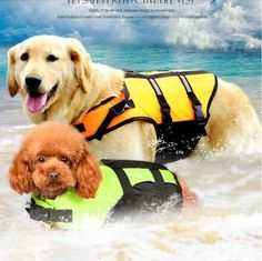 Dog Vests Pet Swimsuit D Ring For Leash Widen Handle Dogs Reflective Life Jacket Orange Green Clothes For Dog Convenient To Cook