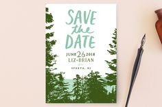 """Mountain View"" - Rustic, Destination Save The Date Cards in Pine Green by Ariel Rutland."
