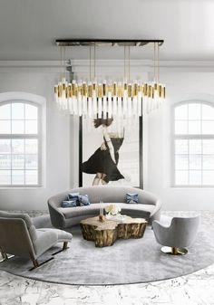 Living room decoration ideas: most popular inspirations on pinterest | Brass and gold color palette schem for this #Livingroomset with @luxxu chandelier | More at http://homeinspirationideas.net/room-inspiration-ideas/living-room-decoration-ideas-popular-inspirations-pinterest