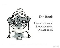 "Pug Poetry - Dis Rock - Illustrated Pug Poem 5x7"" Art Print OR Greeting Card - Minimalist Simple Ink Drawing by Inkpug!"