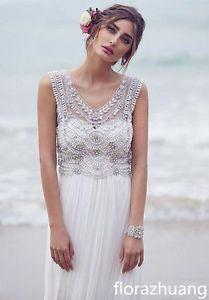 NEU Bohemian Strand Brautkleid V-Ausschnitt Luxus Perlen Chiffon Hochzeitskleid