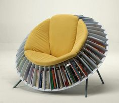 Sunflower Chair, An Ingenious Chair With Integrated Bookcase Sunflower Chair is . - Sunflower Chair, An Ingenious Chair With Integrated Bookcase Sunflower Chair is an ingenious sunflo - Cool Furniture, Furniture Design, Furniture Ideas, Futuristic Furniture, Furniture Dolly, Furniture Removal, Furniture Storage, Plywood Furniture, Furniture Inspiration