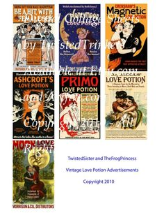 Vintage Love Potion Advertisements Collage by TwistedTrinkets, $2.99