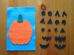 Really simple felt activities. The background for each one is 6 inches by 9 inches (a half sheet of felt). The background pieces are glued down, but the other pieces can be moved around. (That's probably obvious).