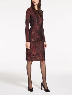 Max Mara VARNA bordeaux: Jacquard and viscose jersey dress.