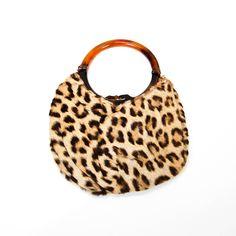 1950 S Leopard Print Handbag With Tortoise Lucite Handle