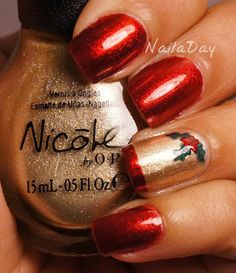 nails.quenalbertini: Nanacoco Irre- sistible Charm Holly-Day Mani | NailaDay