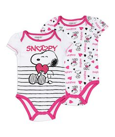 This White & Pink Snoopy Infant Bodysuit - Set of Two by Peanuts by Charles Schulz is perfect! #zulilyfinds