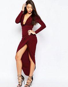 ASOS | ASOS Long Sleeve Cowl Front Maxi Dress at ASOS