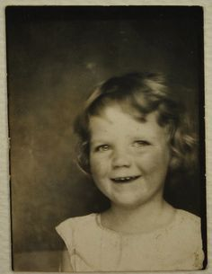 ** Vintage Photo Booth Picture **   Smiling little girl