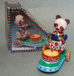 Vintage Tin Wind Up Drumming Panda