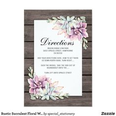 Rustic Succulent WEDDING DIRECTIONS Floral Succulents Flower Barn Wood Pretty Personalized Wedding Directions Card  #succulent #wedding