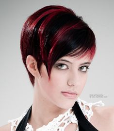 Sleek short haircut with streaks