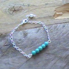Turquoise beaded bar bracelet on silver plated chain, with heart charm