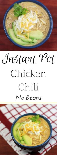 Instant Pot Chicken Chili No Beans I absolutely love chili, however, I hate the beans. This was my first go at Instant Pot Chicken Chili and it turned out Pastas Recipes, Chili Recipes, Crockpot Recipes, Keto Recipes, Chicken Recipes, Dinner Recipes, Healthy Recipes, Healthy Chili, Instapot Soup Recipes