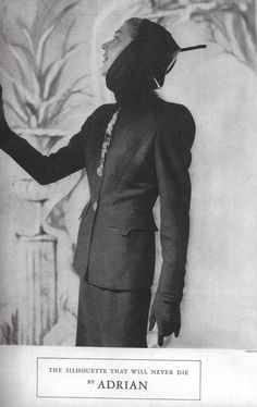 """Advertisement for Gilbert Adrian Suit, """"The Silhouette That Will Never Die by Adrian"""": 10 August 1948, Fay Hammond, """"Adrian's Fall, Winter Creations Stress American Woman's Taste."""" """"Los Angeles Times,"""" C1."""