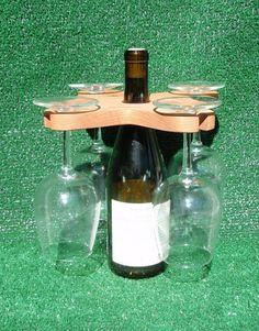Caddie de verre de vin pour Wine Bottle - en bois récupéré (4 verres)