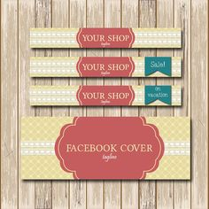 Etsy shop banner Etsy shop set Facebook by PolkaDotSquareDesign, $24.00