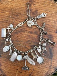 Vintage 1940s Sterling Silver Charm Bracelet with Unusual Charms