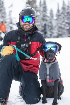 Arapahoe Basin Ski Area hosted 20 teams of avalanche search and rescue dogs Jan-Feb 2016, along with their patrol handlers from ski areas across Colorado for the Colorado Rapid Avalanche Deployment (C-RAD) training seminar. Here is my favorite pic of Arapahoe Basin patroller Dom Vellone with his dog, Max, a one-year-old black Labrador Retriever. Max is training for his C-RAD certification - these dogs and handlers are awesome and can save lives! Photo credit: Dave Camara, A-Basin