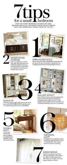 For my room-I like the sheer drapes idea. Maybe get 2 different colors and layer them? Could be a cool effect :-) --- 7 Tips for a Small Bedroom Do It Yourself Organization, Organization Hacks, Bedroom Organization, Organizing Ideas, My New Room, My Room, Small Rooms, Small Spaces, Home Renovation