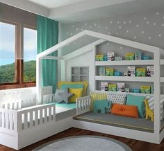 Pretty cool toddler bed/ reading nook combo for a kids room. The house frame over it really ties it all together. It's so clean looking I wondered if it was computer generated. The initial link was broken so I screen capped and cropped the image because I liked this idea so much. Gotta do what you gotta do. #PinLife
