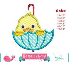 Applique Design Mini Easter Duck Peeking Umbrella by EmbryLab