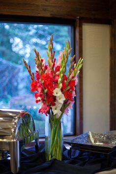 C & D red pink white gladiola centerpiece utah wedding florist calie rose Centerpiece Decorations, Decoration Table, Flower Centerpieces, Flower Vases, Flower Decorations, Flower Pots, Gladiolus Centerpiece, Gladiolus Arrangements, Tall Floral Arrangements