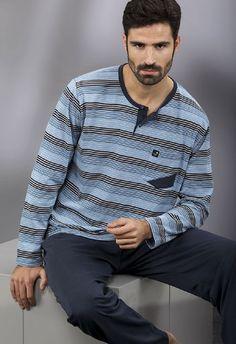 pijama hombre invierno Massana listado, con bolsillo en el suéter