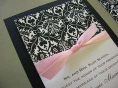 Cute wedding invitation idea...would do silver bow instead of pink though