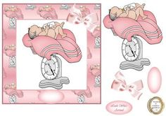 weighing in baby girl on Craftsuprint designed by Heather Howes - another baby card a bit different matching decoupage is available on linked sheet - Now available for download!
