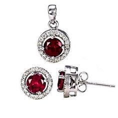 Rachel: 2.55ct 10mm Halo Jacket Ruby Basket Stud Earring & Pendant Set - Trustmark Jewelers