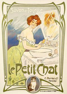 """MISTI SAVON DE TOILETTE """"LE PETIT CHAT"""" FERRIER & CIE, MARSEILLE. Vers 1898 Imprimerie : Laas & Pécaud, Paris - 139x99cm - Entoilée, très bon état """"A"""" Bibliographie : """"Mémoires du savon de Marseille"""" p.66 -""""Grain de beauté"""" p.29, """"Collectionneurs d'Affiches"""" p. 57"""