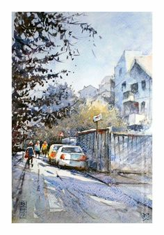 Dhruba Mazumder Watercolor Artists, City, Painting, Outdoor, Water Colors, Outdoors, Painting Art, Cities, Paintings